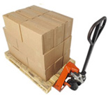 Pallet jack with pallet and boxes